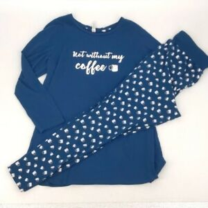 Sleep by Cacique Not Without My Coffee Pajama Lounge PJ Comfy Set Size 14/16L