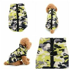 XXS Chihuahua Clothes Size Camo Padded Dog Pet Coat Clothes Zip Up Army