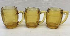 Set of 3 Glass Barrel Toothpick Holder/Shot Glasses Amber