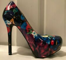 b5d0c22ceab Steve Madden P-Ressa Multi-Color Floral Patent Leather-Like High Heel Pumps