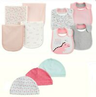 NWT Carter's Baby Girl 4 Pk Burp Cloths ,Bibs or 3 Pk Hats Little Baby Basics