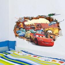 3D Cracked Cartoon Cars Wall Stickers Vinyl Art Mural Baby Boys Home Room Decor