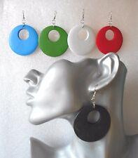 Lightweight Wooden Hoop Earrings 60s style - Pierced or Clip-on - 5 Colours