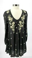 Free People Small  Black Floral Embroidered Long Sleeve Cutout Mini Swing Dress