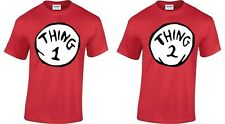 Thing One 1 And Thing Two 2 T-Shirt Couples Funny Costume Twins Fancy Dress Top