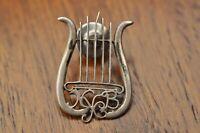 Vintage 1950s RARE NYCB New York City Ballet Sterling Silver Harp Pinback