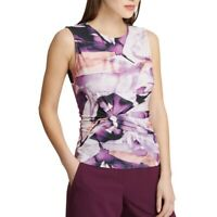 DKNY NEW Women's Printed Sleeveless Side-knot Blouse Shirt Top TEDO