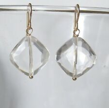 Natural Diamond Shaped Rock Crystal Quartz Faceted Gold Filled Earrings Handmade