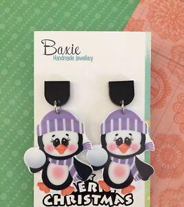 Christmas Dangle Earrings, Penguin, Resin, Black Acrylic, Surgical Steel Stud