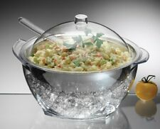 Ice Bowl Cold Food Server Dish Salad Serving Party Utensils Lid Chill Stainless