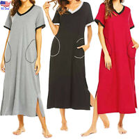 Women Nightshirt Short Sleeve Nightgown Casual Sleepwear Loose Long Dress Pajama