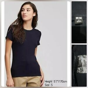 UNIQLO NAVY BLUE RIBBED CREW NECK T SHIRT like new Med on tag