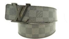 Authentic Louis Vuitton Belt Men Damier Graphite LV Black Grey 100/40 M9808