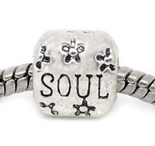 Soul Inspirational Word Flower Spacer Charm for Silver European Bead Bracelets