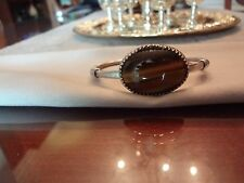 VINTAGE STERLING SILVER MEXICO TIGER EYE CUFF BRACELET-925-VERY NICE AND OLD
