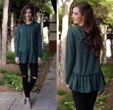Infinity Raine Womens Size S Fashion Casual Hoodie Tunic Top Ruffle Hem Green