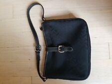 Talbots Women's Small Black Evening Canvas Shoulder Bag Leather Strap Vintage
