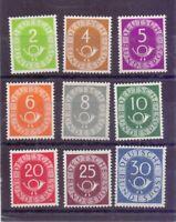 Bund 1951 - 9 Werte aus MiNr. 123/132 postfrisch** gepr. - Michel 260,00 € (748)