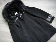 CLAUDIE PIERLOT Wollmantel Jacke Gr. 38 FR 40 Schwarz Damen Mantel Echtfell Coat