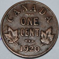 Canada 1920 1 Cent George V Canadian Penny Copper Coin