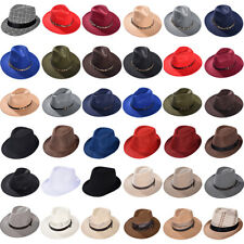Men Women Unisex Straw Fedora Hat Trilby Short Brim Cap Summer Hat Party Access