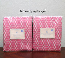 TWO Pottery Barn Kids MINI DOT LUXE JACQUARD Blackout Panels 44X63 BRIGHT PINK