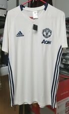 Manchester United FC  Adidas/AON T-Shirt White Blue Size Large  US Seller