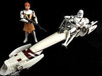 Star Wars Action Figures OBI WAN KENOBI, CLONE TROOPER & Speeder Recon Bike lot