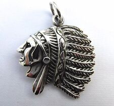 Sterling Silver 925   Red  Indian  Chief  Pendant  !!       Brand  New  !!