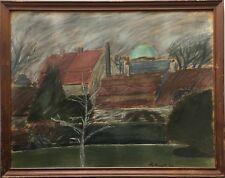 GROSSES PASTELL 1944 SIGNIERT - PARK AM STADTRAND - 46 X 59 CM MIDCENTURY ART