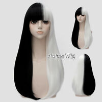 Lolita 65CM Long Black Mixed White Straight Halloween Party Cosplay Wig+Wig Cap