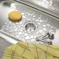 Kitchen Sink Mat Dish Drainer Cup Glass Sctrach Protector Anti Slip Clear Pebble
