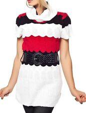 Sexy Damen Strick Kurzarm Pullover Pulli Rolli Gürtel 34/36/38 weiß schwarz rot