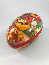 Vintage Paper Mache Egg With Ducks (Pretty Floral Interior)