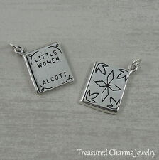925 Sterling Silver Little Women Book Charm - American Novel Pendant NEW