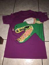 Orage Mens T Shirt Sz Large Dinosaur Eating Skiers Purple Used