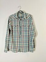 Lucky Brand Mens Shirt Flannel Long Sleeve Button Red White Blue Plaid Large