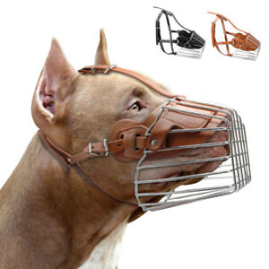 Muzzle for Medium Large sized Dog Wire Metal Leather No Bite Chew Mouth Basket