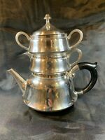 Vintage India A1 W.A. Silver Plate STACKING TEAPOT Set with Creamer & Sugar c767