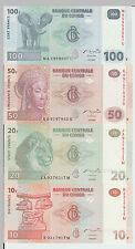 1997 - 2007 1 Centime - 100 Francs Congo Banknotes UNC