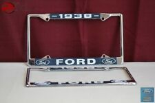1938 Ford Car Pick Up Truck Front Rear License Plate Holder Chrome Frames New