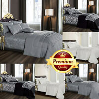 Luxury 3 Piece Quilted Jacquard Bedspread Throw Bed Cover &Pillow Shams All Size