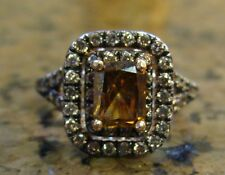 Champagne & Cognac 1.92 ct DIAMOND Halo Style Engagement Ring 14K NEW