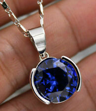 "4Ct Round Blue Sapphire Solitaire Pendant 14K White Gold Finish Free 18"" Chain"