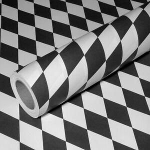 0,47€/m² 50m x 1,00m Raute schwarz-weiß JUNOPAX Geschenkpapier Zielflagge Karo