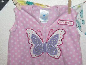 HALO SleepSack Fleece Pink Butterfly Polka Dots Wearable Blanket Small S 0-6 mos