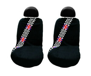 Seat Armour 2 Piece Front Car Seat Cover with British Flag - Black Terry Cloth