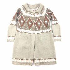 Free People Sweater Cardigan Womens Medium Mohair Wool Blend Duster Fair isle