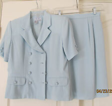 2PC Jennifer Moore Petites Blue Double Breasted Short Sleeve Skirt Suit Women 6P