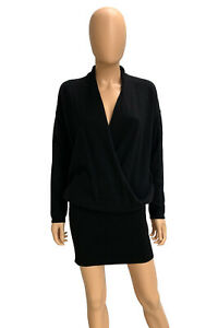 Joie Women's Black Wool Cashmere Long Sleeve Faux Wrap Sweater Mini Dress Size S
